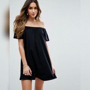 ASOS Black Off The Shoulder Mini Dress
